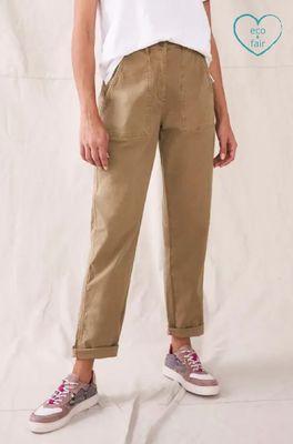 White Stuff broek twister organic chino trouser bruin