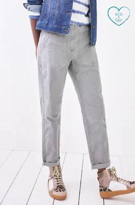 White Stuff broek twister organic chino trouser grijs