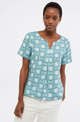 White Stuff top banana leaf top blauw