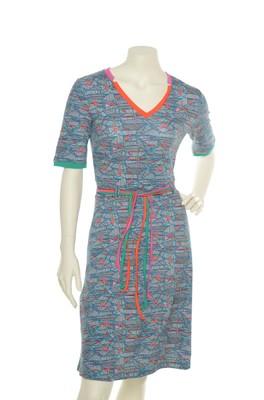 Wow To Go jurk blauw pinde