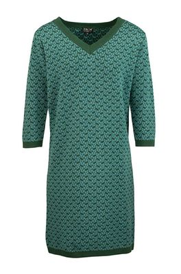 Zilch jurk dress v neck petrol