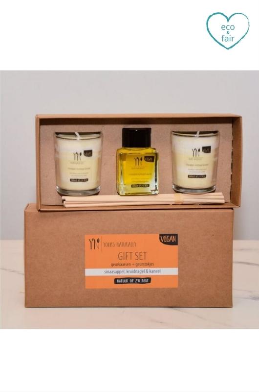 Yours naturally geurkaars giftset sinaasappel, kruidnagel en kaneel