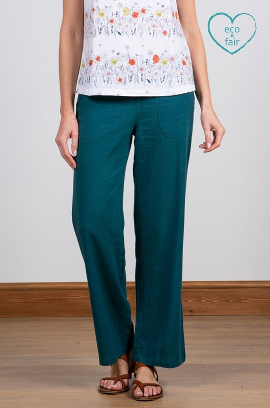 Lily & Me broek relaxed everyday trousers petrol