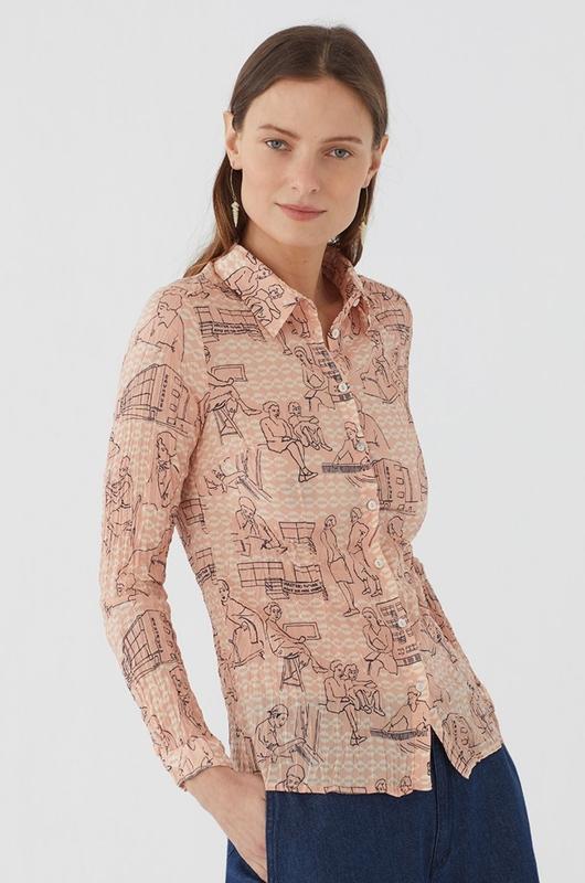 Nice Things bloes basic shirt 99 roze