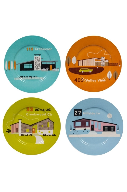 Cubic Homestead set of 4 Plates