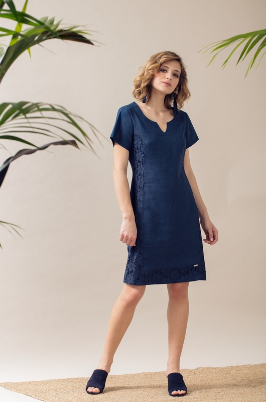 Maloka jurk rimena blauw
