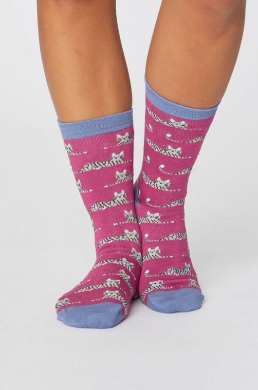 Thought sokken cute cat socks roze