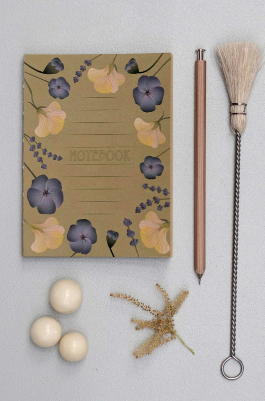 Vissevasse notitieboek amber with flowers
