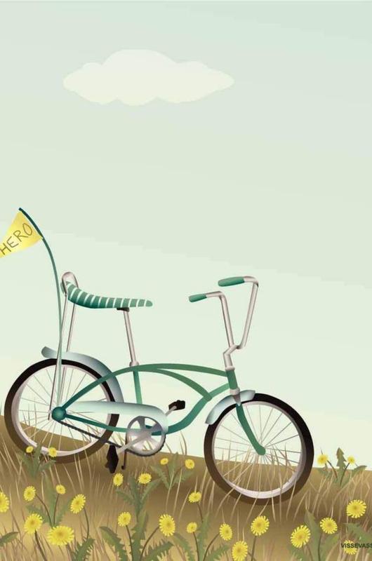 Vissevasse poster bike with a flag