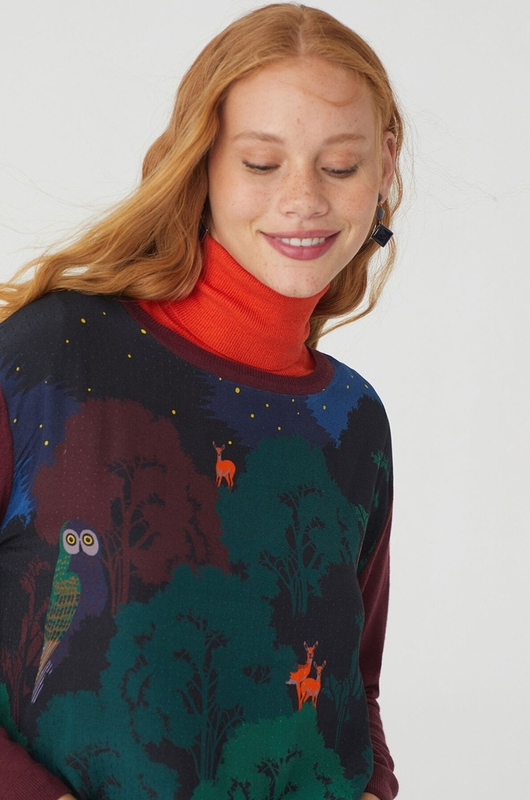Nice Things trui printed front sweater multicolor