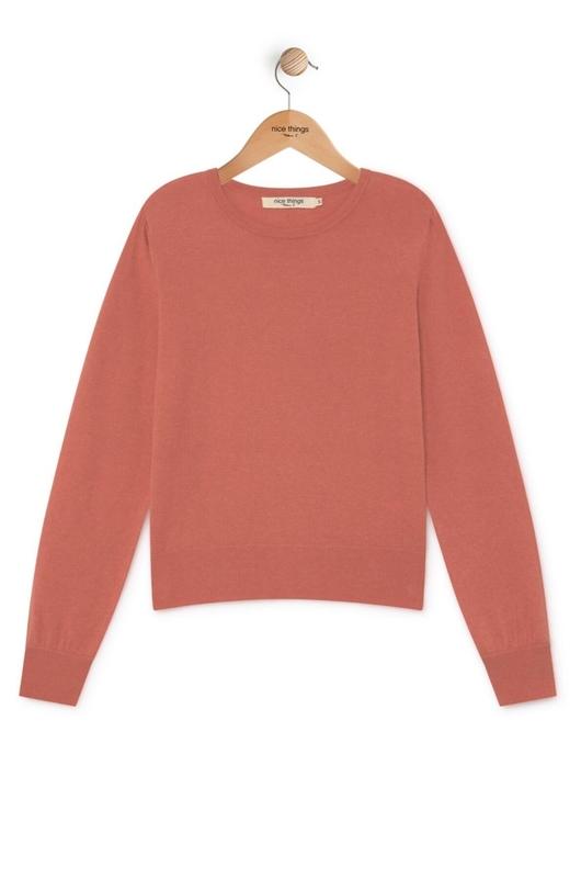 Nice Things trui basic sweater roze
