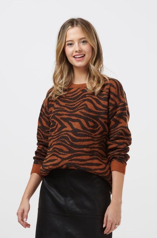 Sugarhill trui livvy big cat tiger bruin