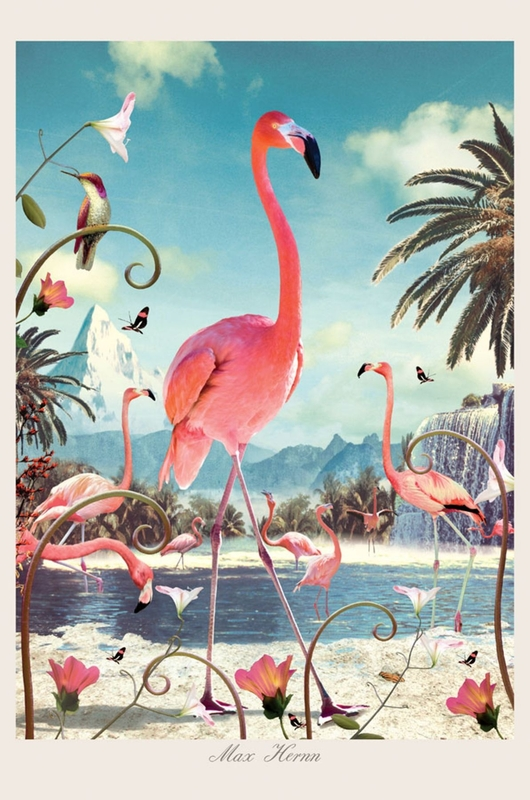 Lip International poster standing flamingo multicolor
