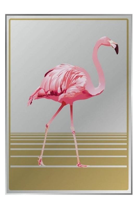 Cubic Grote spiegel met flamingo